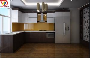 Tủ bếp melamine hiện đại gỗ MDF Chống ẩm An Cường TB08