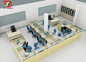 Thiết kế bố cục màu sắc vật dụn bàn ghế văn phòng 3D Chuyên nghiệp
