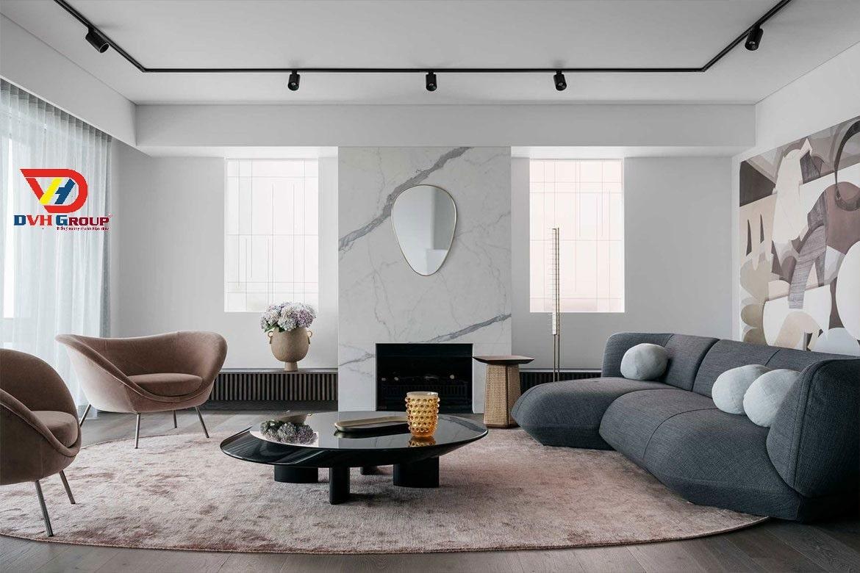 Thiết kế nội thất phòng khách hiện đại theo chủ đề mùa xuân