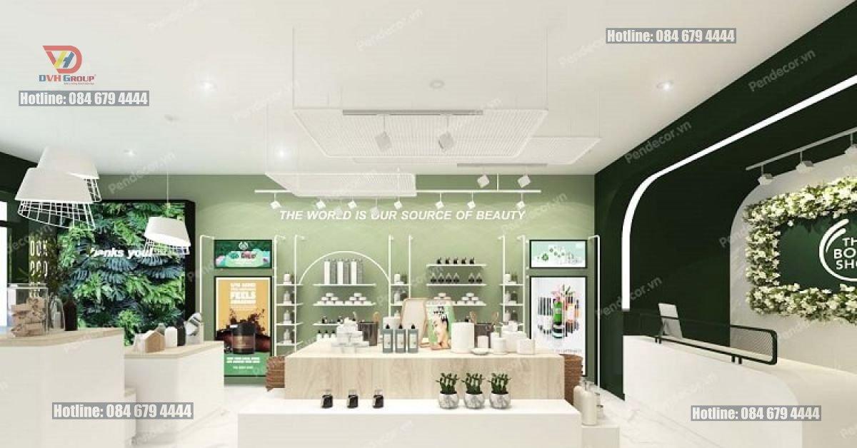 Mẫu thiết kế nội thất showroom mỹ phẩm với gam màu xanh lá