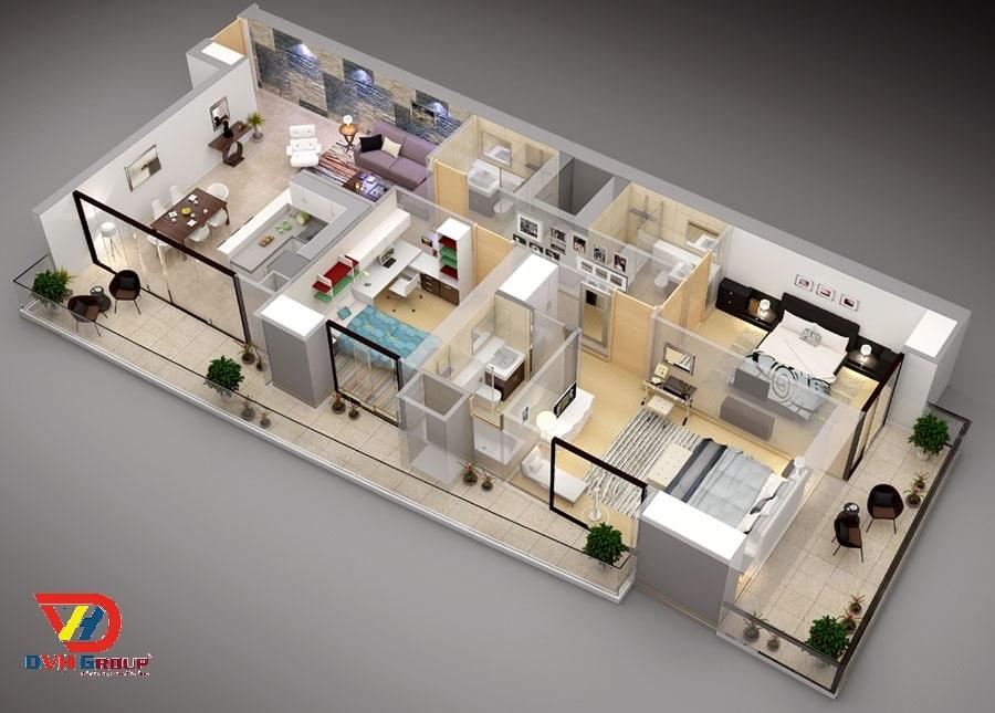 Phác thảo thiết kế bố trí đồ đạc trong căn hộ, chung cư