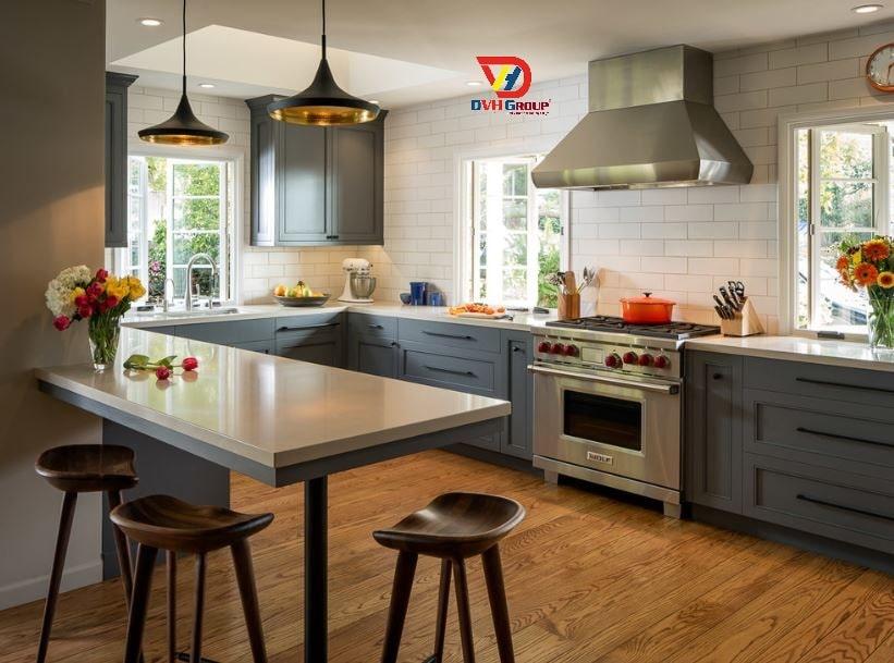 Thiết kế nội thất phòng bếp thoáng mát, sạch sẽ
