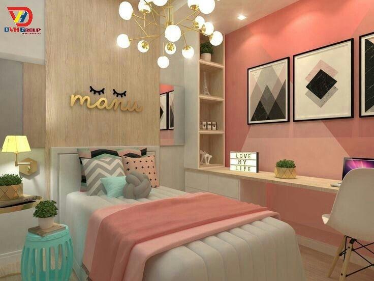 Thiết kế nội thất căn hộ chung cư 3 phòng ngủ - Phòng cho con gái