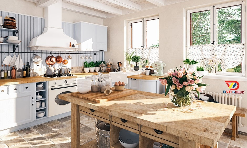 Phối hợp màu sắc có độ tương phản thấp khi thiết kế bếp ăn