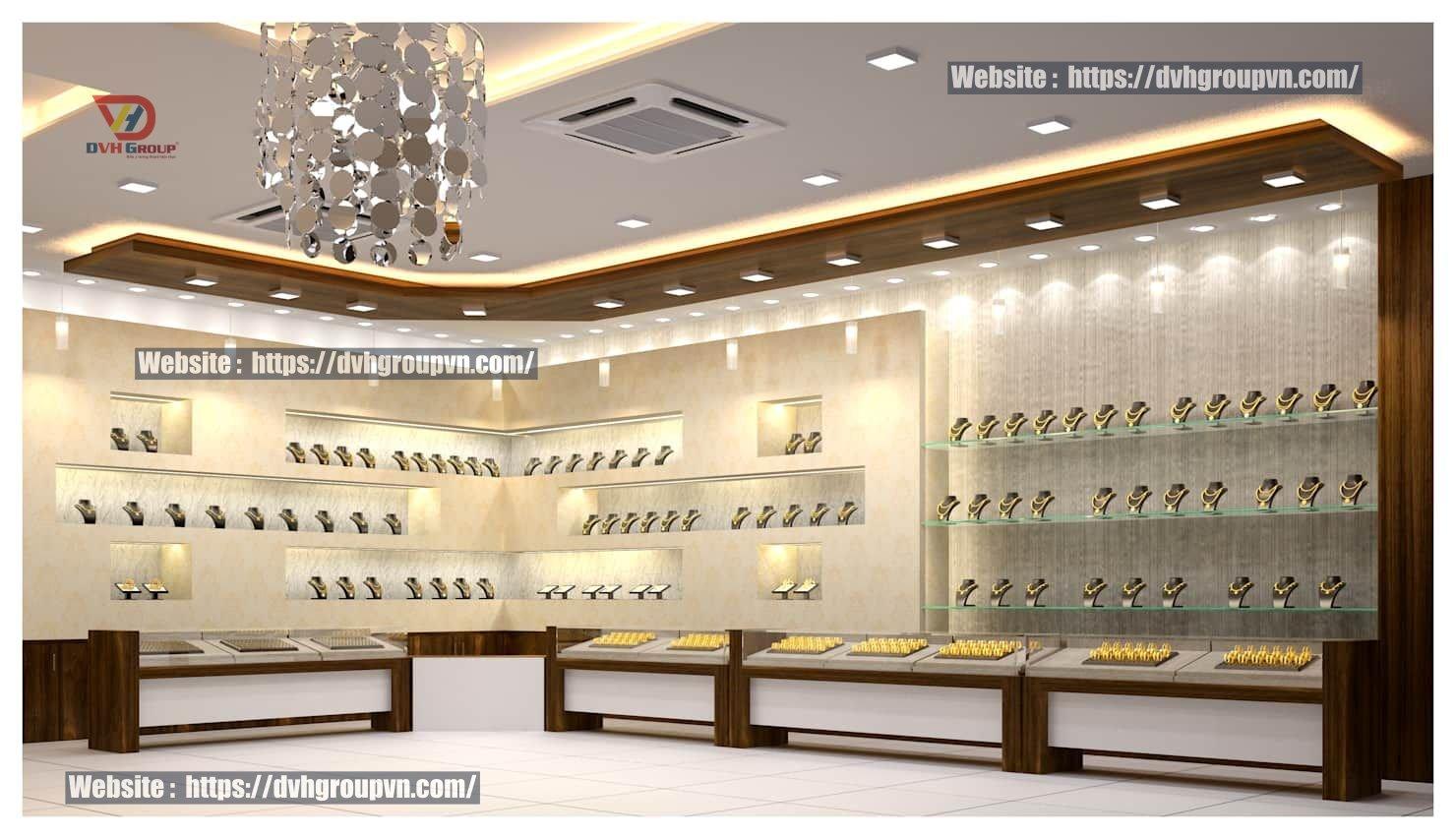Đơn vị thiết kế nội thất showroom cửa hàng trang sức tại quận 7 - Nội thất DVHGroup