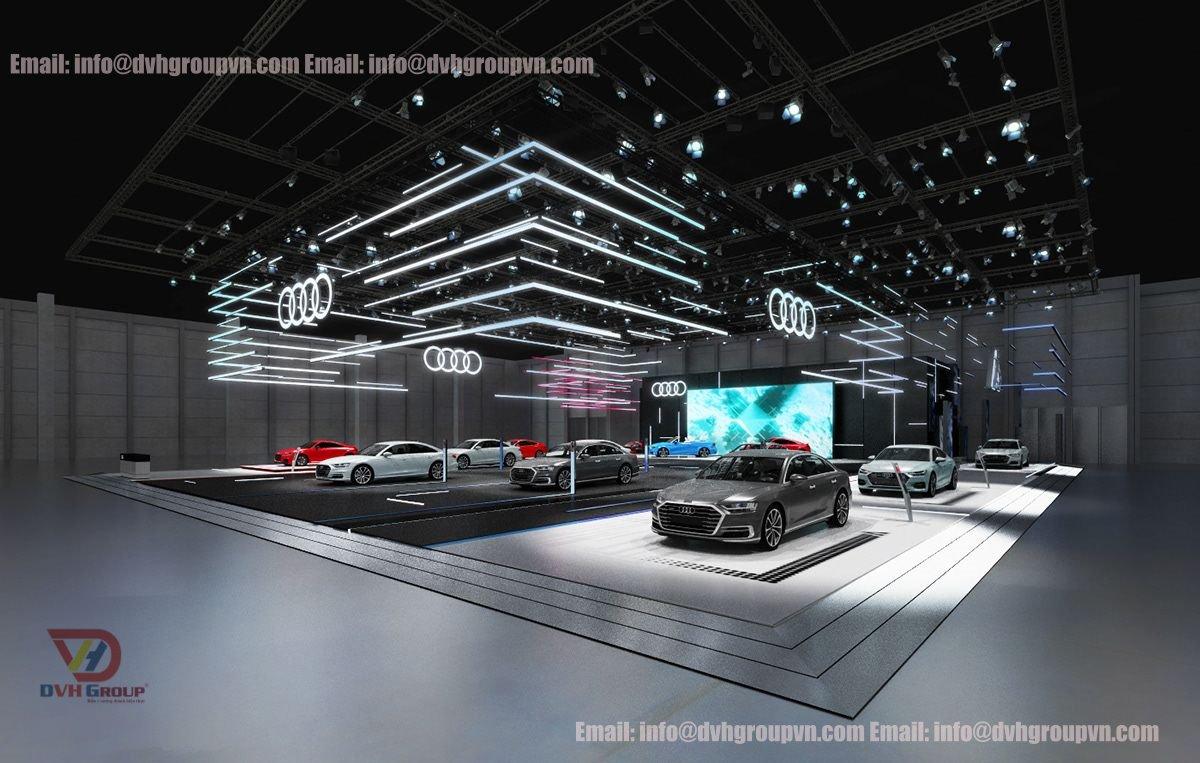 Tiêu chuẩn thiết kế showroom ô tô về không gian, màu sắc chủ đạo