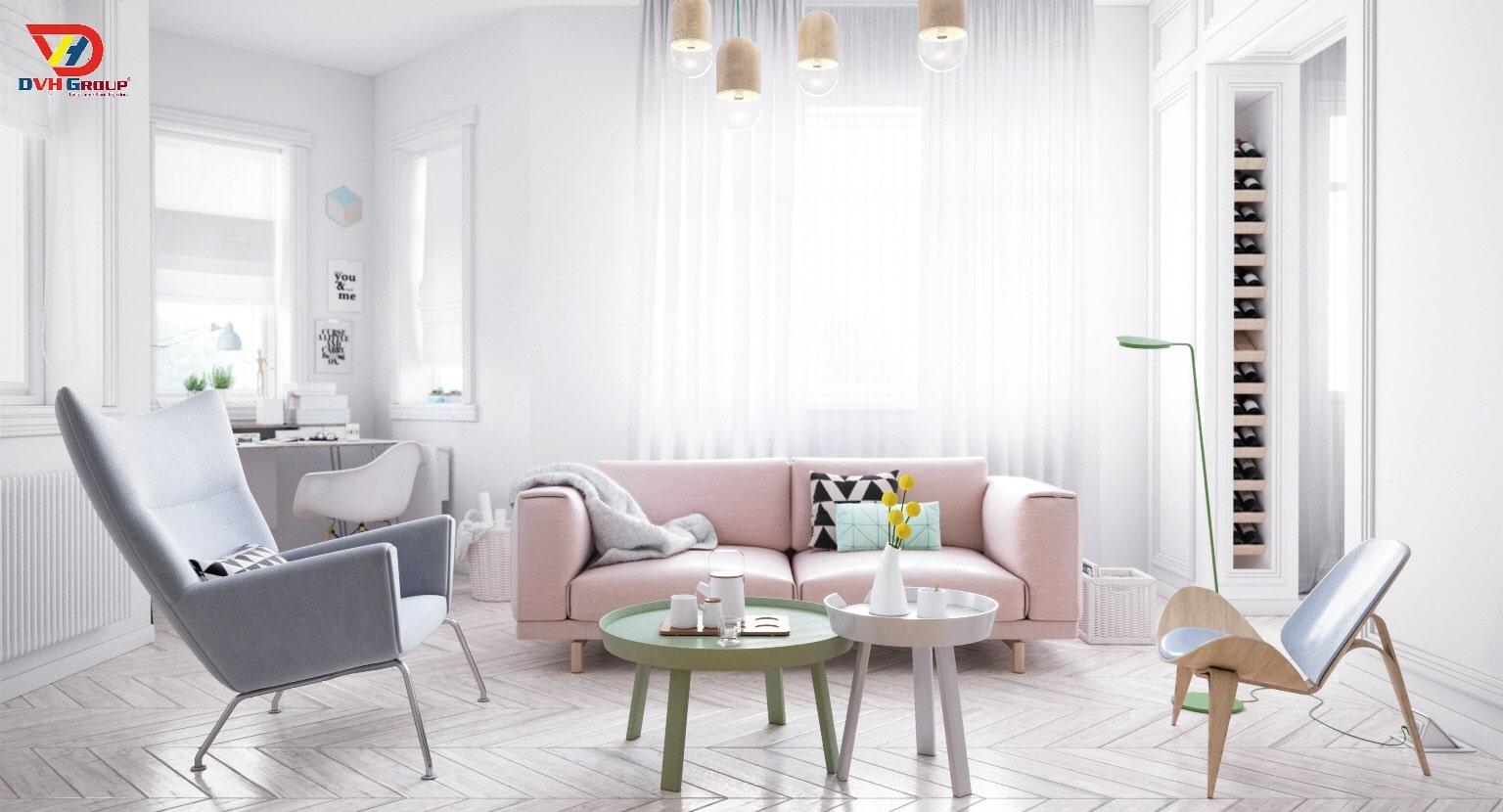 Thiết kế nội thất căn hộ chung cư-tone màu sáng