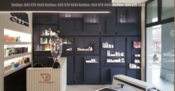 Mẫu thiết kế nội thất showroom mỹ phẩm với gam màu đen-trắng