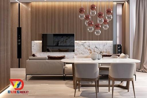 Thiết kế nội thất bằng vật liệu gỗ đan xen