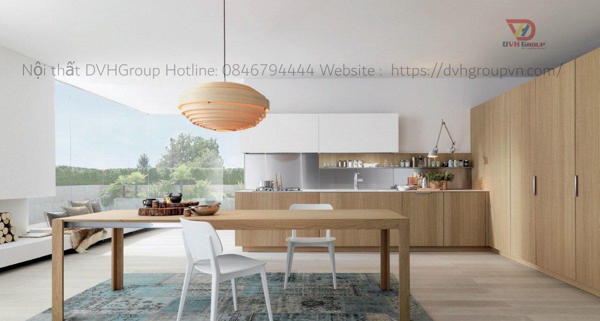 Thiết kế nội thất phòng bếp đơn giản, sang trọng