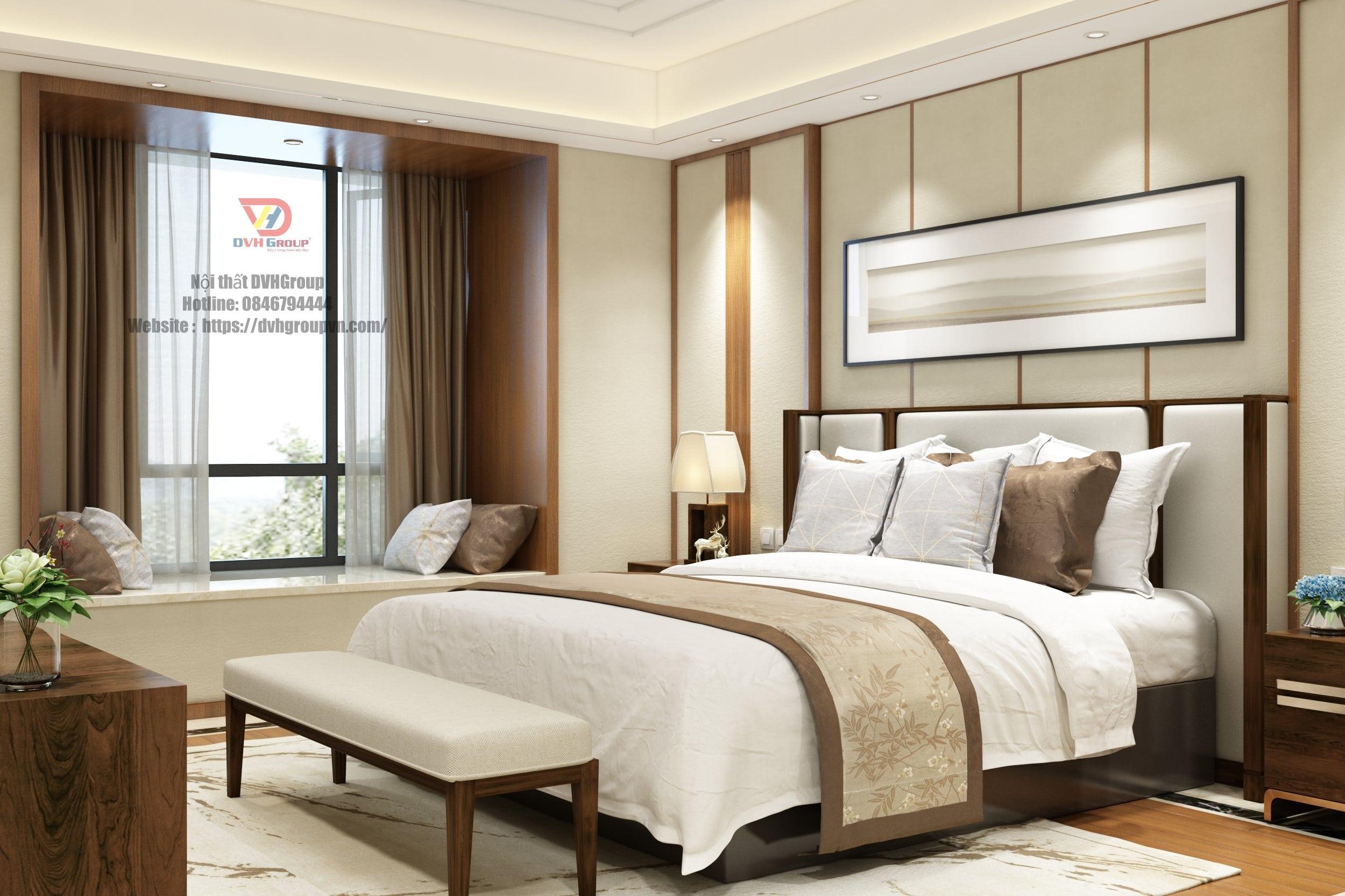 Nội thất phòng ngủ tone nhẹ nhàng