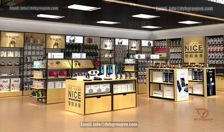 Các yếu tố cần đảm bảo khi thiết kế nội thất showroom cửa hàng điện thoại