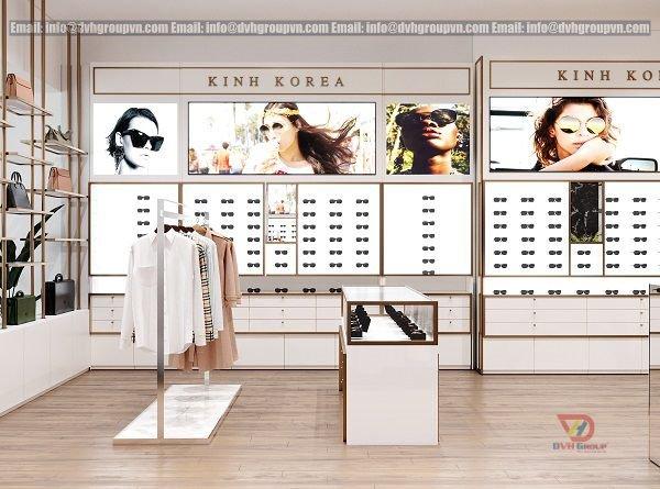 Bố trí không gian hợp lí trong thiết kế nội thất showroom cửa hàng mắt kính