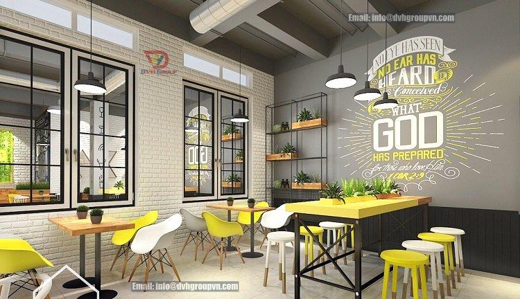 Mẫu thiết kế nội thất showroom quán trà sữa hiện đại, trẻ trung