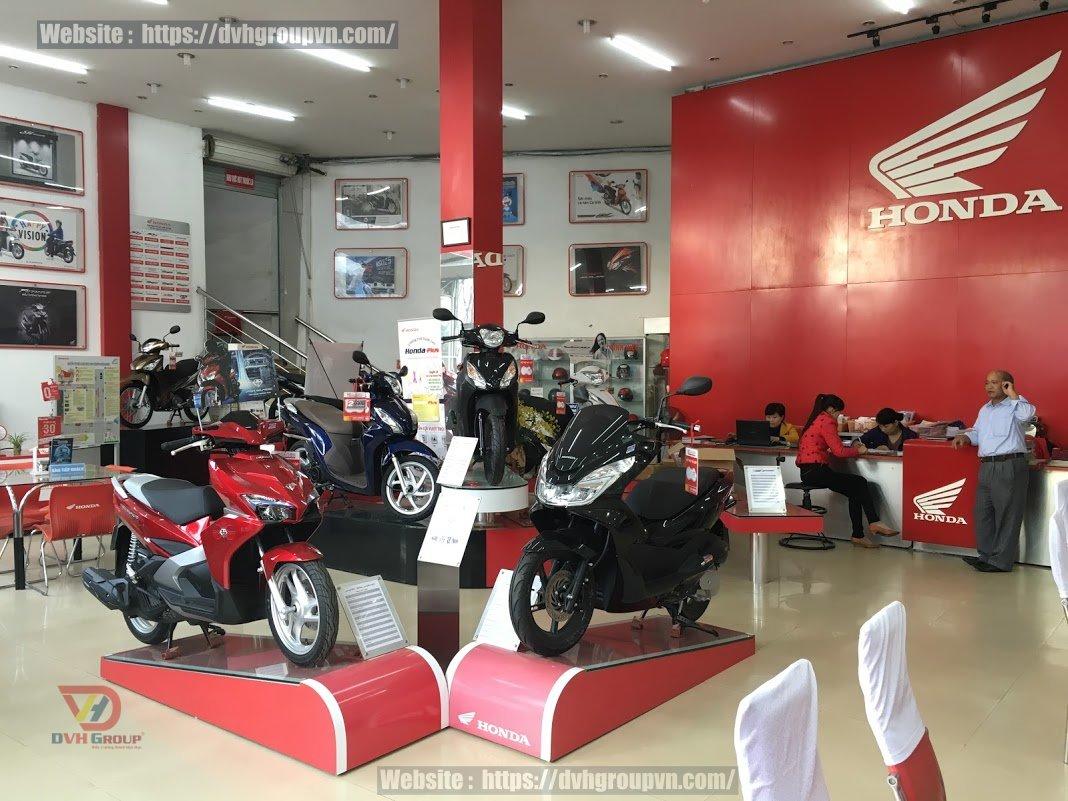 Thiết kế showroom xe máy với màu sắc chủ đạo