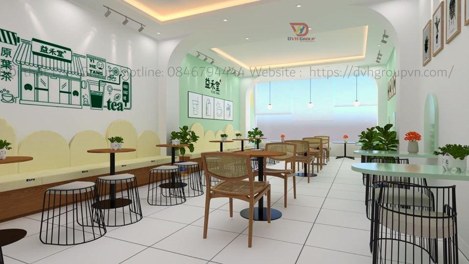 Thi công thiết kế nội thất showroom cửa hàng trà sữa- Nội thất DVHGroup