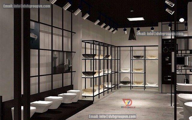 Kệ trưng bày đóng vai trò cần thiết cho showroom thiết bị vệ sinh