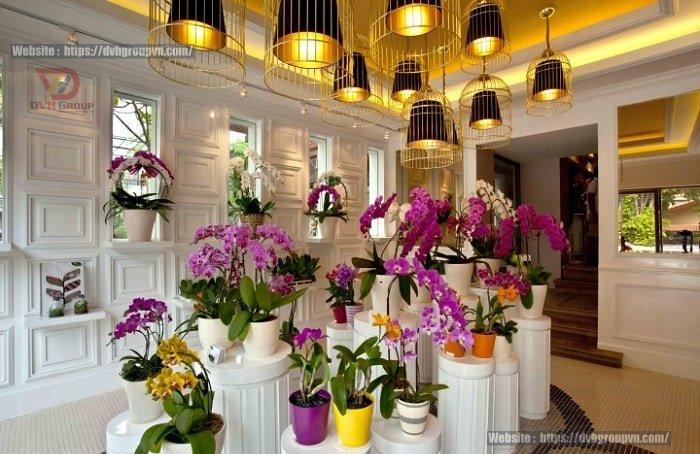 Bài trí hoa ở không gian trung tâm căn phòng trưng bày