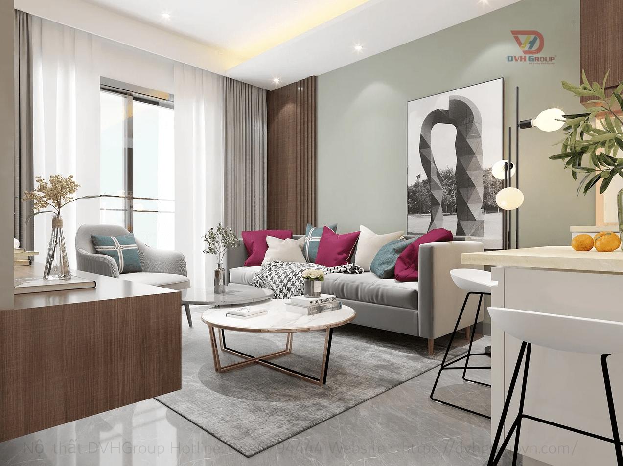 Thi công thiết kế nội thất căn hộ chung cư - Phòng khách