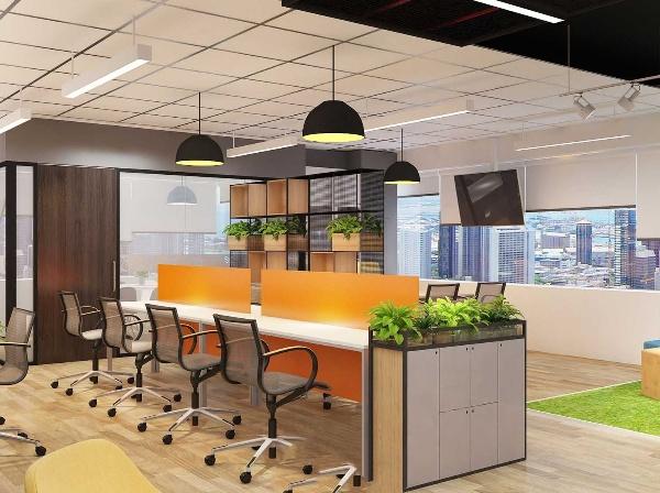 Thiết kế văn phòng với nhiều tông màu khác nhau